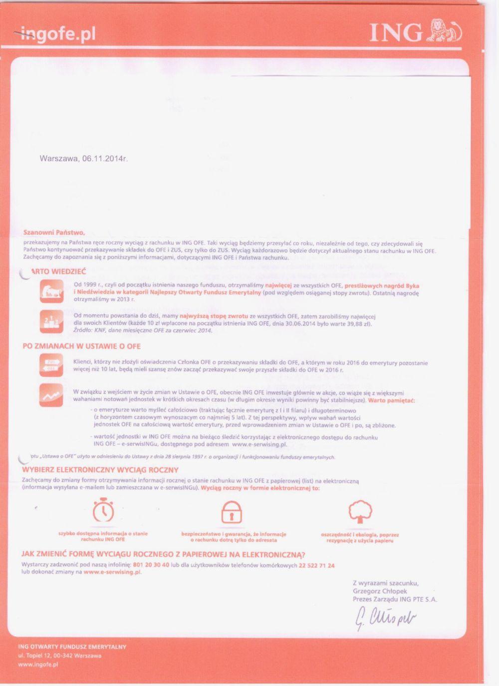 list do klientów ING OFE