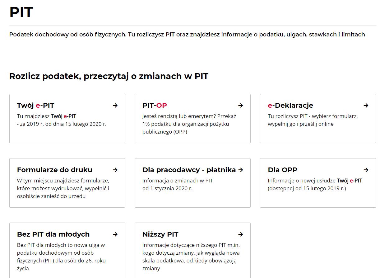 użyteczność strony www.podatki.gov.pl rodzaje PIT