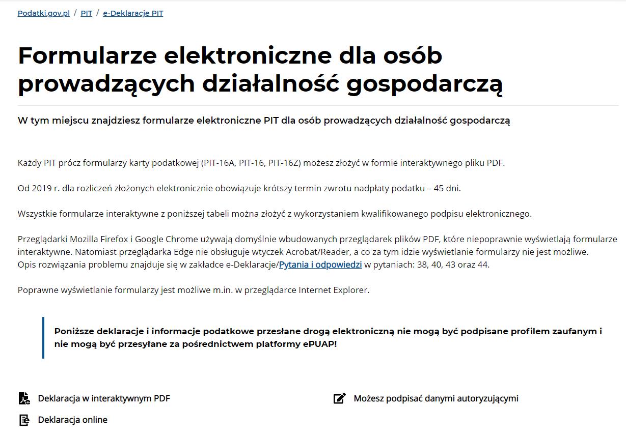 użyteczność strony www.podatki.gov.pl formularze PIT