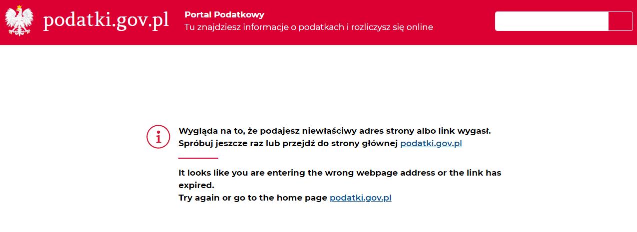użyteczność strony www.podatki.gov.pl wyszukiwarka