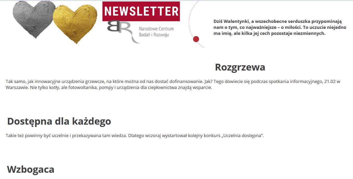 e-mailing layout przykład